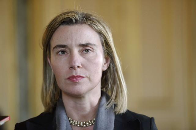 La représentante de la diplomatie de l'UE, Federica... (PHOTO ERIC FEFERBERG, AFP)