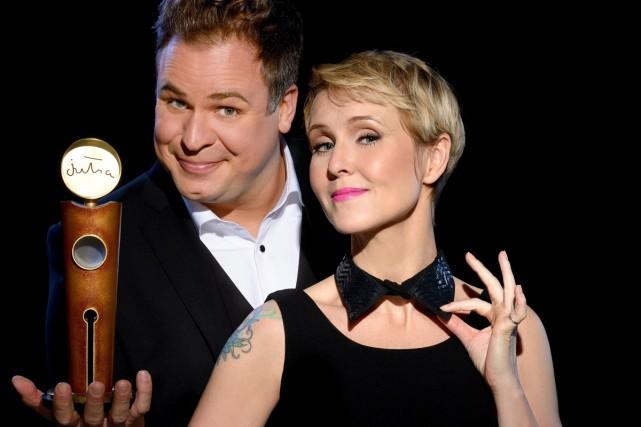 Stéphane Bellavance et Pénélope McQuade, animateurs des Jutra... (Photo: La Presse Canadienne)