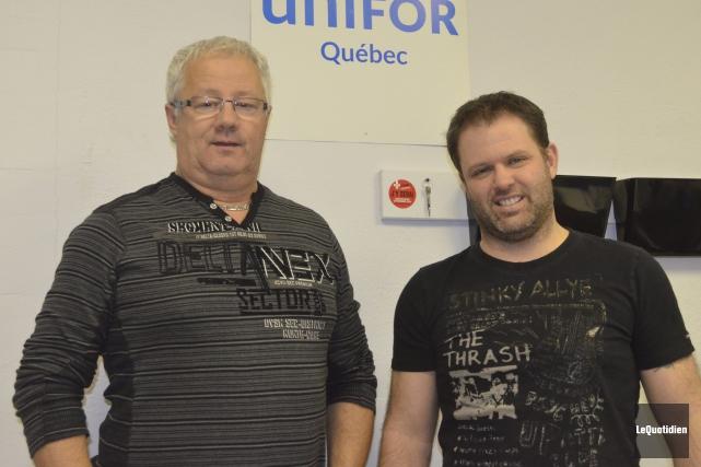 Daniel Leblond, Pascal Cloutier et le syndicat Unifor... ((Photo Le Quotidien Louis Potvin))