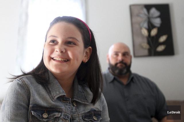 La jeune Audrey Plouffe et son père Christian.... (Etienne Ranger, LeDroit)