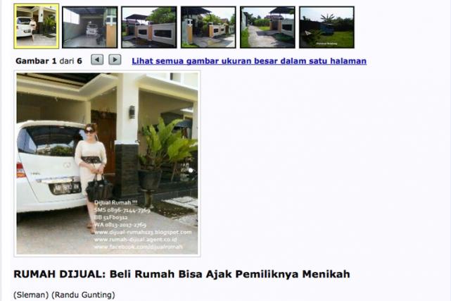 Sur une photo, Wina Lia, veuve de 40... (Capture d'écran du site rumahdijual.com)