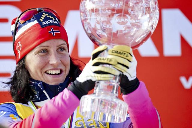 Marit Bjoergena complété la saison avec les trois... (PHOTO JON OLAV NESVOLD, AP)