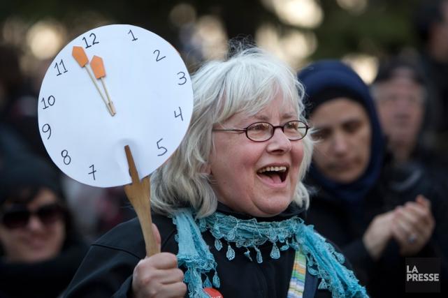 Une manifestante lors de la marche pour le... (PHOTO ROBERT SKINNER, LA PRESSE)