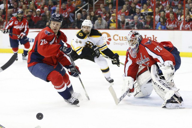 Braden Holtby a réussi un huitième jeu blanc... (Photo Geoff Burke, USA TODAY Sports)