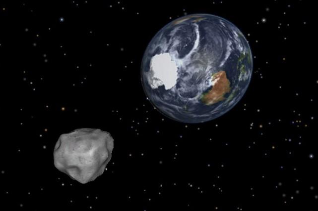 L'astéroïde 2012 DA14, sur une simulation de la... (Photo archives PC)
