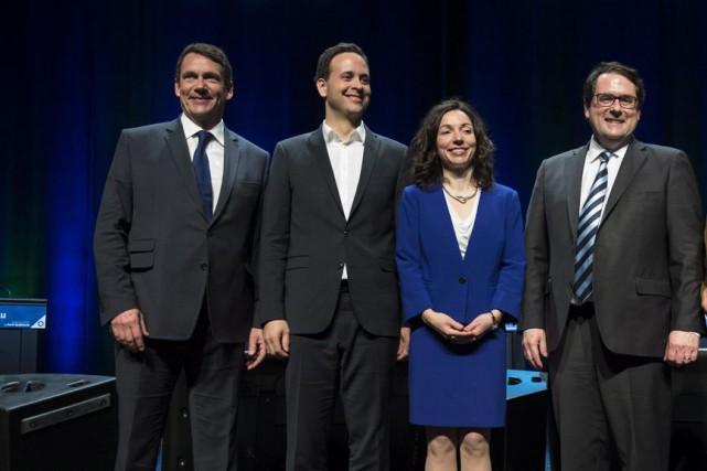 Pierre Karl Péladeau, Alexandre Cloutier,Martine Ouellet etBernard Drainvillene... (PHOTO LA PRESSE CANADIENNE)
