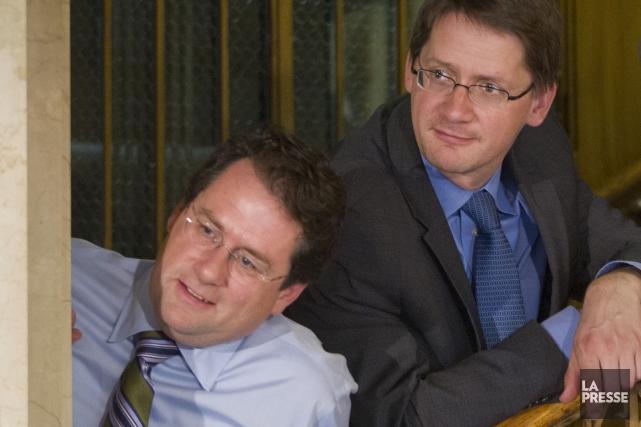 Bernard Drainville et Sylvain Gaudreault.... (PHOTO IVANOH DEMERS, ARCHIVES LA PRESSE)