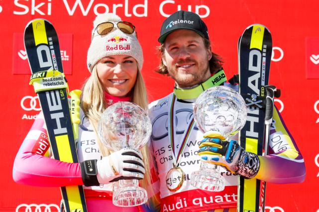 L'Américaine Lindsey Vonn et le Norvégien Kjetil Jansrud... (Photo Robert Pratta, Reuters)