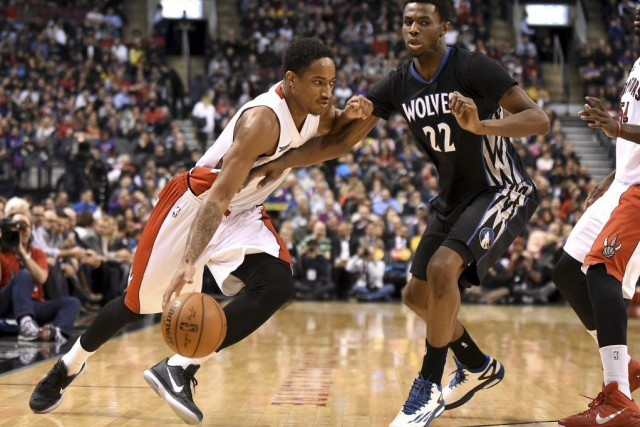 DeRozan a obtenu 21 points, récolté sept rebonds... (Photo USA Today Sports)