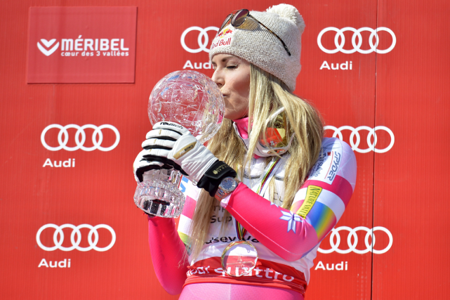 Lindsey Vonn a mis la main sur son 19e globe... (Photo Jeff Pachoud, AFP)