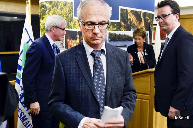 Marcel Corriveau lors de l'annonce de sa démission... (Le Soleil, Jean-Marie Villeneuve)