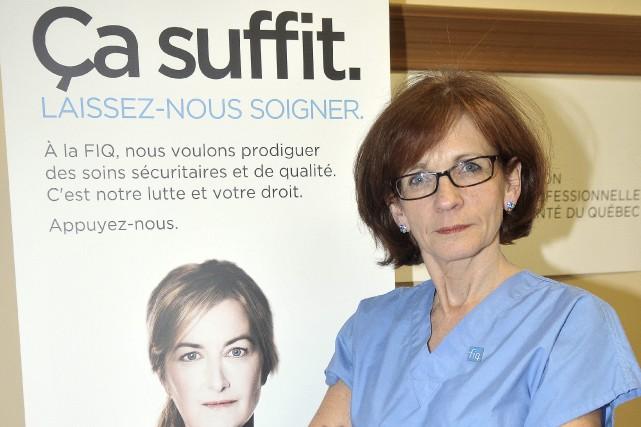 La présidente du Syndicat des professionnelles en soins du CSSS de Chicoutimi,... (Rocket Lavoie)