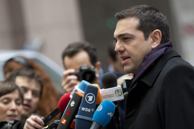 Le premier ministre grec Alexis Tsipras à son... (Photo Virginia Mayo, AP)