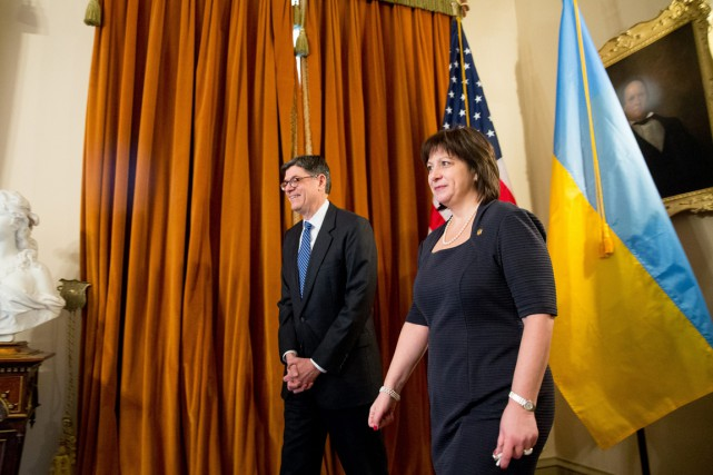 La ministre ukrainienne des Finances, Natalie Jaresko, a... (PHOTO ANDREW HARNIK, AP)