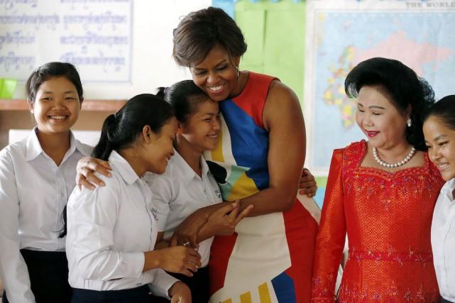 Michelle Obamaa rencontré 10 étudiantes qui lui ont... (Photo Wong Maye-E, AP)