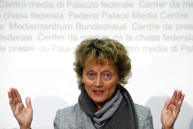 La ministre suisse des Finances, Eveline Widmer-Schlumpf...