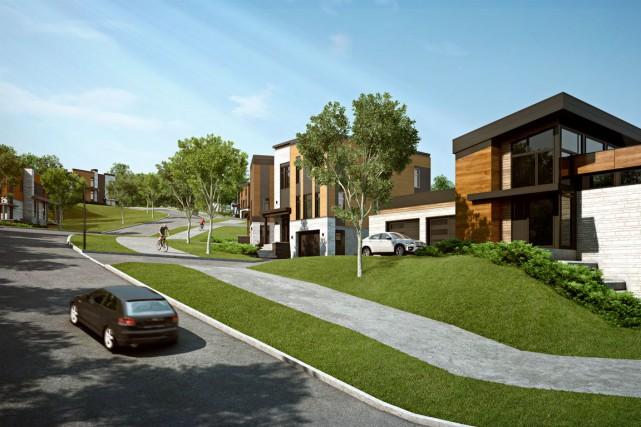 Cette projection du Quartier Exalt montre des terrains... (Image fournie par G12 Investissement)