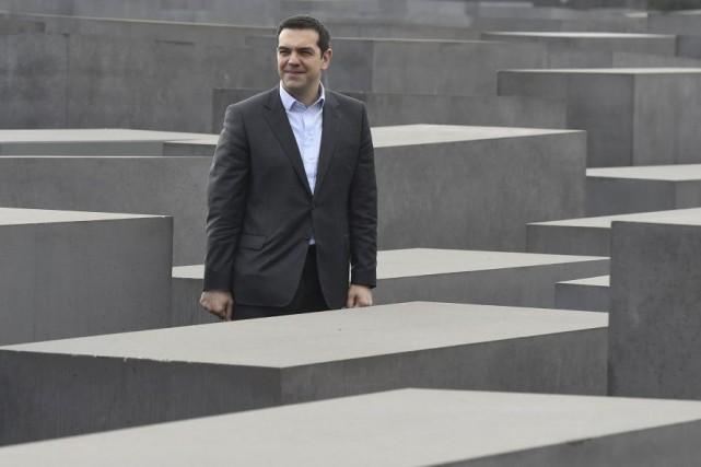 Le premier ministre grec Alexis Tsipra à Berlin.... (PHOTO TOBIAS SCHWARZ, AFP)