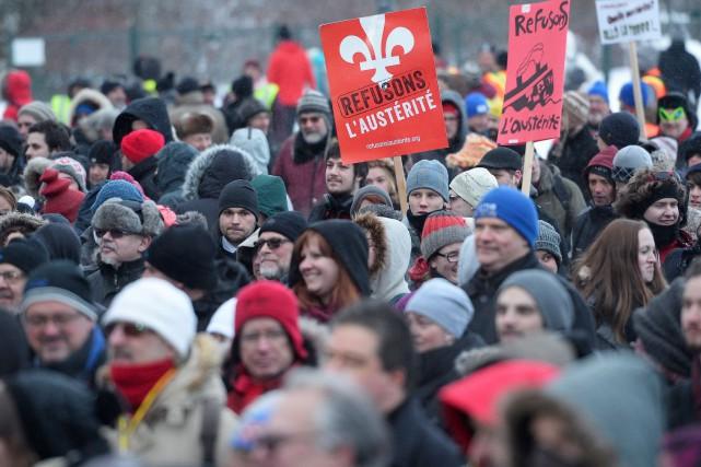 Une manifestation contre l'austérité d'une heure s'est tenue...