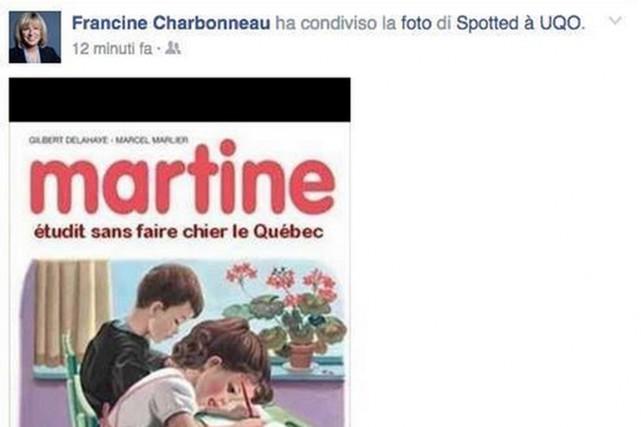 La ministre de la Famille, Francine Charbonneau, a retiré de sa page Facebook... (PHOTO TIRÉE DE TWITTER)