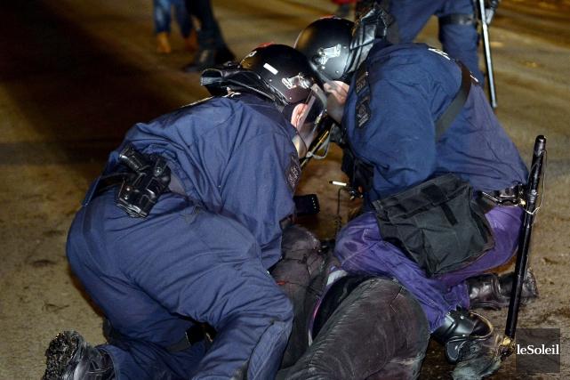 La première manifestation du printemps 2015 à Québec,... (Le Soleil, Erick Labbé)