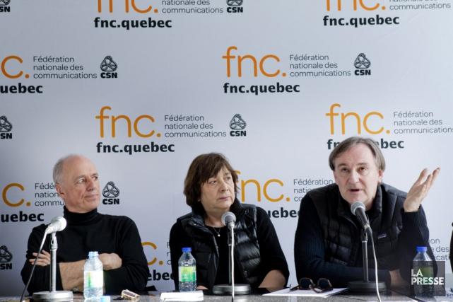 De gauche a droite: les réalisateurs Charles Binam.... (Photo Marco Campanozzi, La Presse)