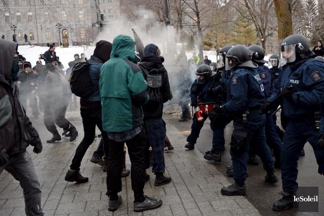Une manifestation étudiante tenue à Québec... (Photothèque Le Soleil, Erick Labbé)