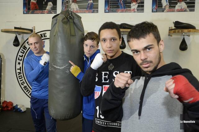 Guillaume Labrecque, Daylen Pépin, Charles Fenkam et Charles-Étienne... (Photo: Sylvain Mayer, Le Nouvelliste)