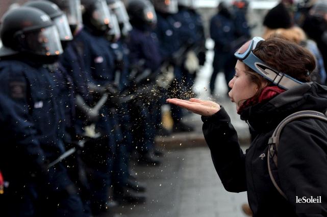 La manifestation étudiante contre l'austérité et le budget... (Photo Erick Labbé, Le Soleil)