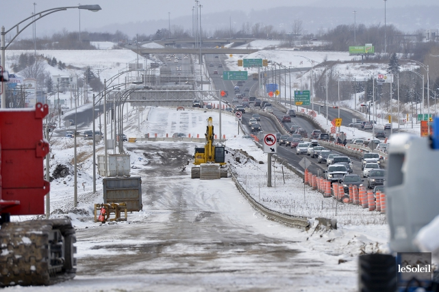 Les travaux qui viennent de débuter sur l'autoroute... (Le Soleil, Yan Doublet)