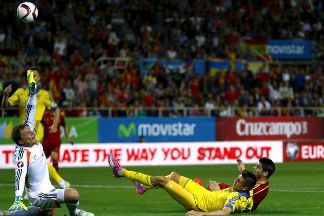 L'Espagnol Alvaro Morata a marqué son premier but... (PHOTO MARCELO DEL POZO, REUTERS)