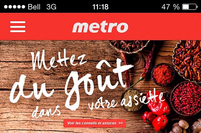 Metro continue le développement de son système de fidélisation de la clientèle... (Photo tirée de l'application)