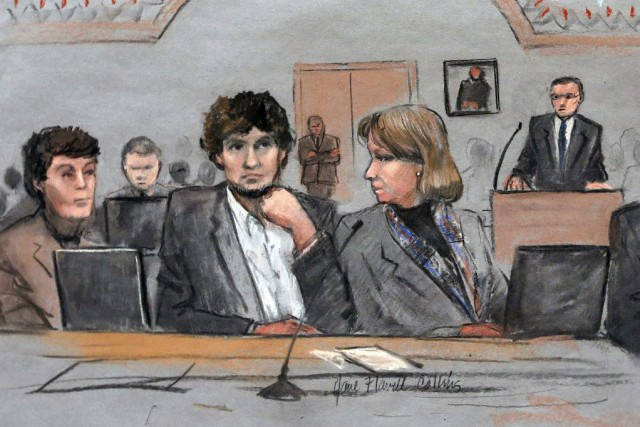 Djokhar Tsarnaev n'a montré aucun remords lors de... (PHOTO JANE FLAVELL COLLINS, ARCHIVES AP)