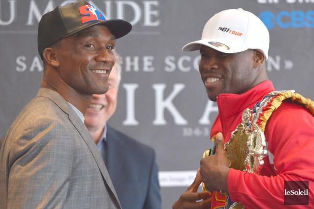 Sakio Bika et Adonis Stevenson étaient souriants mercredi... (Le Soleil, Yan Doublet)