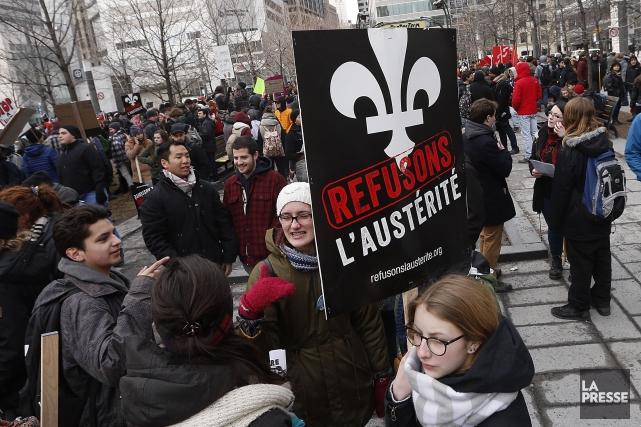 La grande manifestation contre l'austérité doit réunir non... (La Presse, Patrick Sansfaçon)