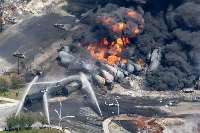 La majeure partie du centre-ville de Lac-Mégantic a... (PHOTO ARCHIVES LA PRESSE CANADIENNE)