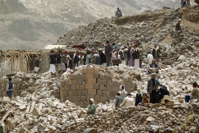 Le Yémen est bombardé depuis plus d'une semaine... (PHOTO MOHAMMED HUWAIS, AFP)