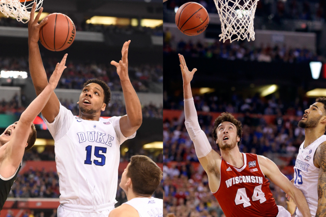 Jahil Okafor (Duke) et Frank Kaminsky (Wisconsin) seront... (Photos USA Today et AP)