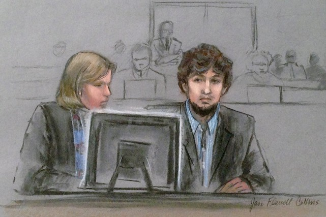 Djokhar Tsarnaev, 21 ans, risque la peine de... (ILLUSTRATION JANE FLAVELL COLLINS, ARCHIVES AP)