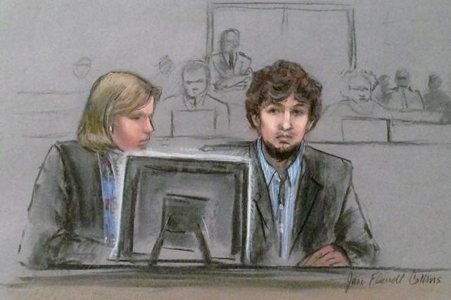 Djokhar Tsarnaev, 21 ans,risque la peine de mort.... (ILLUSTRATION JANE FLAVELL COLLINS, ARCHIVES AP)