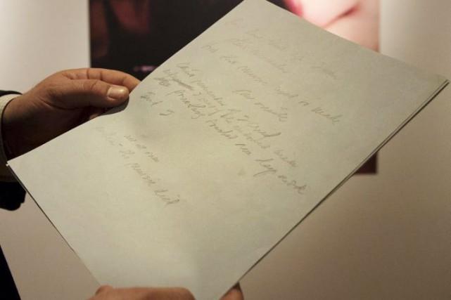 Le manuscrit original de la chanson à succèsAmerican Pie de Don... (Photo: Reuters)