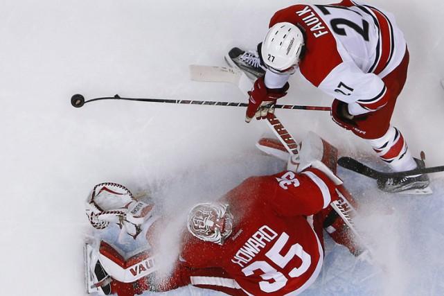 Gustav Nyquist et Pavel Datsyuk ont tour à tour marqué en troisième période et... (Photo: AP)