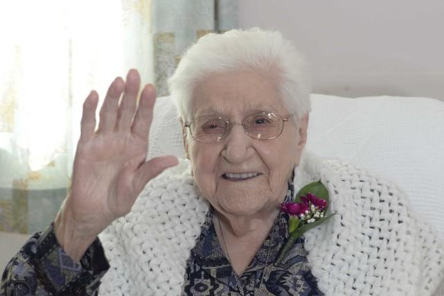 Soeur Béatrice Naud (1905-2015) le 7 avril dernier,... (Photo: Sylvain Mayer)