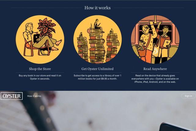 La page d'accueil du site internet d'Oyster....