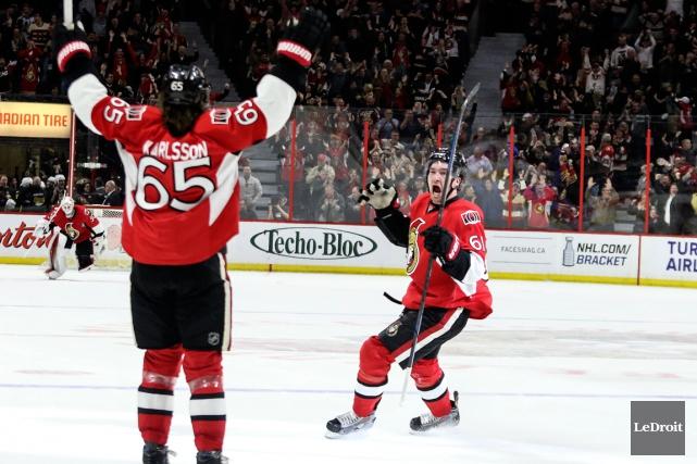 Les Sénateurs d'Ottawa ont arrachéune victoire de 4-3... (Photo Patrick Woodbury, Le Droit)