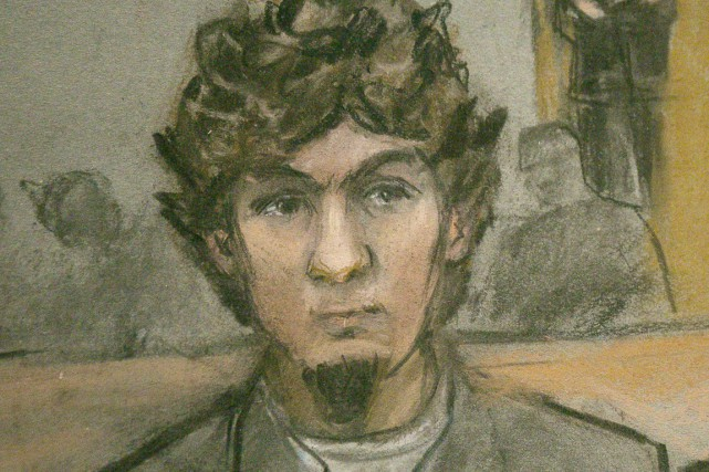 Djokhar Tsarnaev a été reconnu coupable, hier, des... (ILLUSTRATION JANE FLAVELL COLLINS, REUTERS)