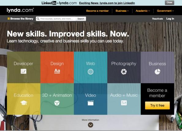 La page d'accueil du site lynda.com....