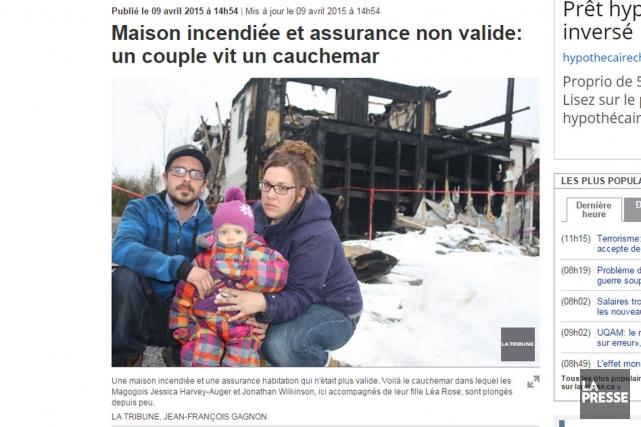 L'histoire de la jeune famille magogoise victime d'un incendie il y a quelques... (Capture d'écran)