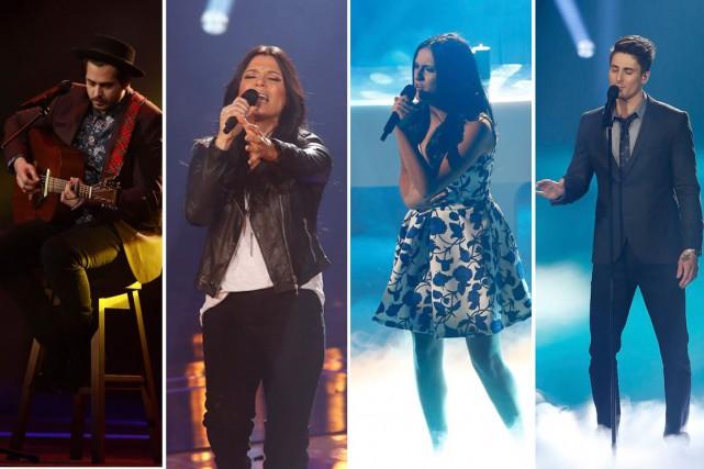 De gauche à droite, lesquatre finalistes deLa voix:...