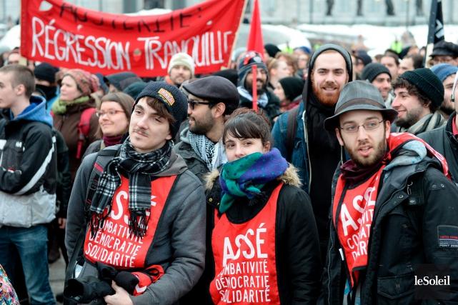 Peu de membres de l'Association des étudiants de... (Photothèque Le Soleil, Erick Labbé)